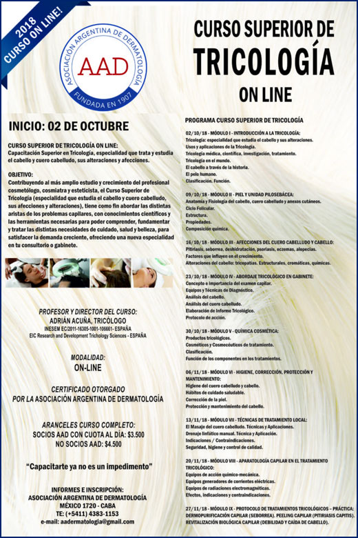 On line > Curso Superior de Tricología