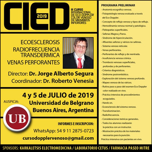 CIED 2019 / III Curso Internacional de Eco Doppler Color Venoso de Miembros Inferiores
